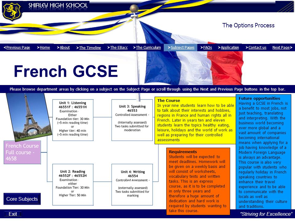 The Options Process French GCSE Exit Please browse department areas by clicking on a subject on the Subject Page or scroll through using the Next and Previous Page buttons in the top bar.