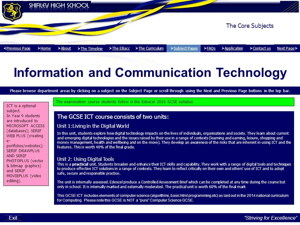 Information and Communication Technology Please browse department areas by clicking on a subject on the Subject Page or scroll through using the Next and Previous Page buttons in the top bar.