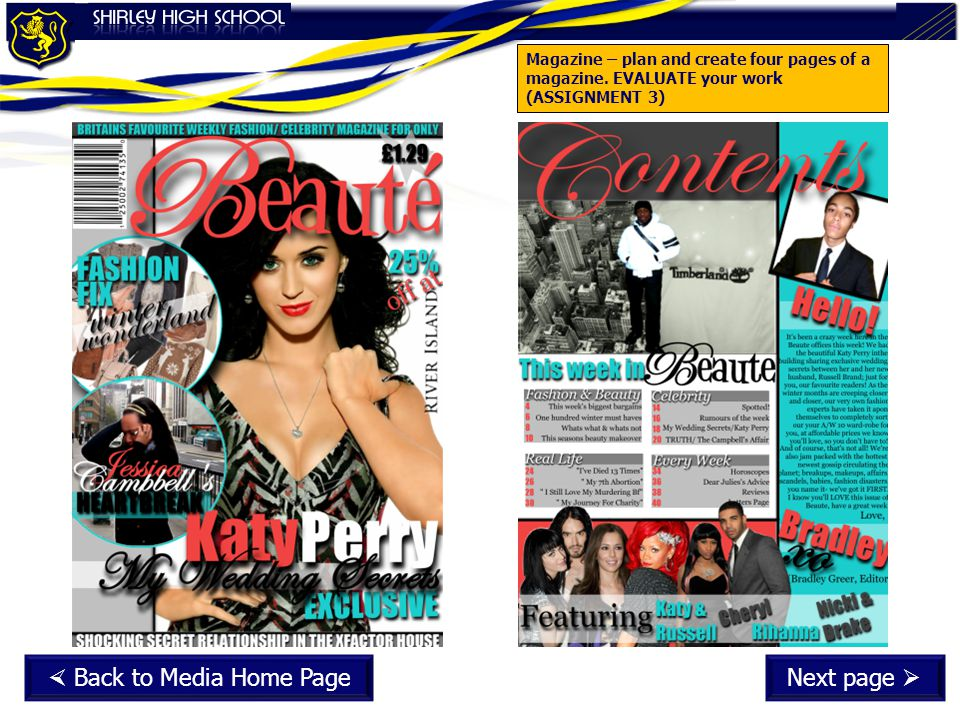 Magazine – plan and create four pages of a magazine.