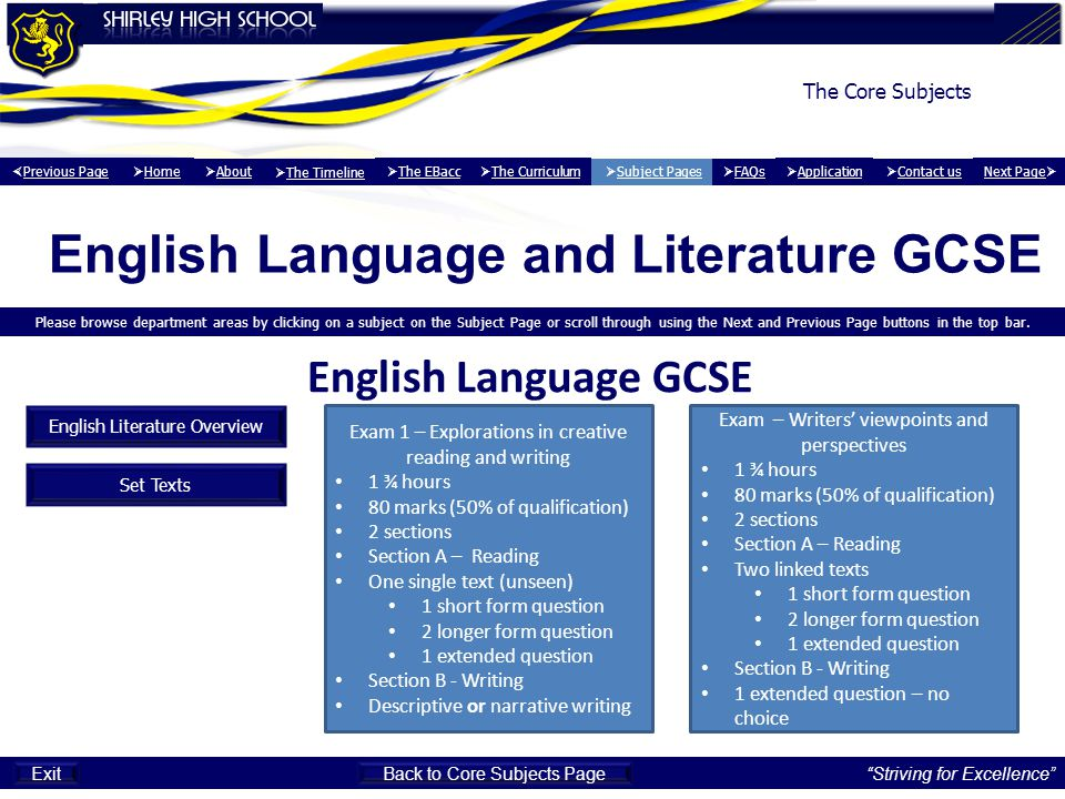 English Language and Literature GCSE Please browse department areas by clicking on a subject on the Subject Page or scroll through using the Next and