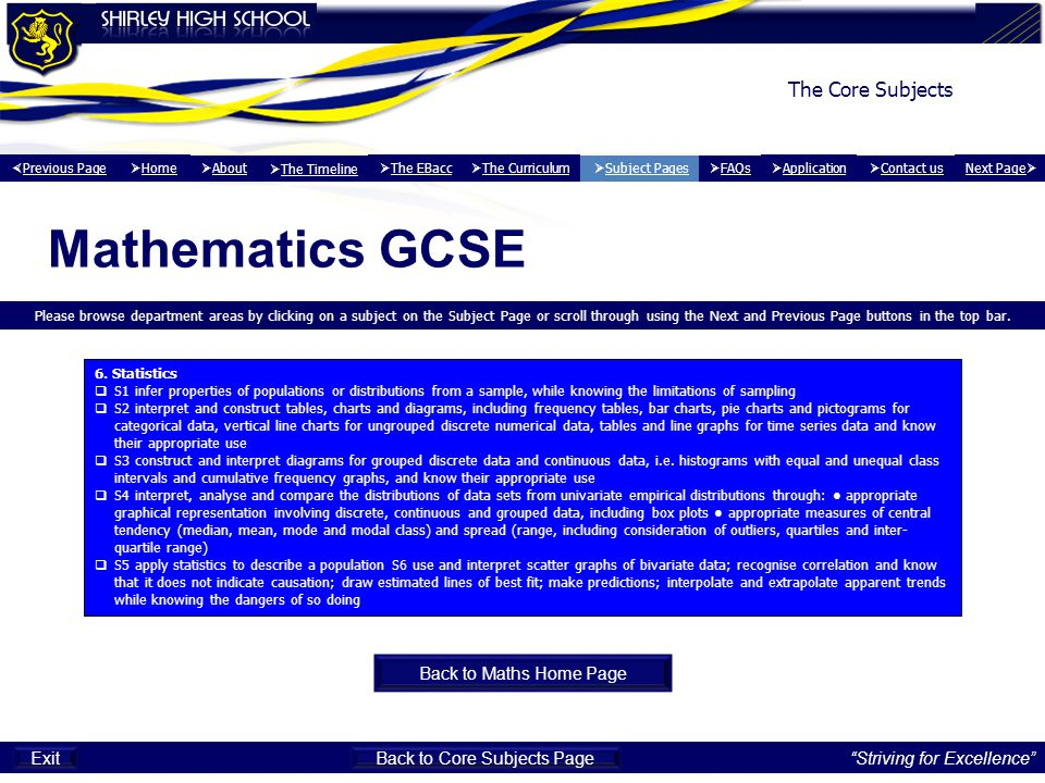 Mathematics GCSE Please browse department areas by clicking on a subject on the Subject Page or scroll through using the Next and Previous Page button