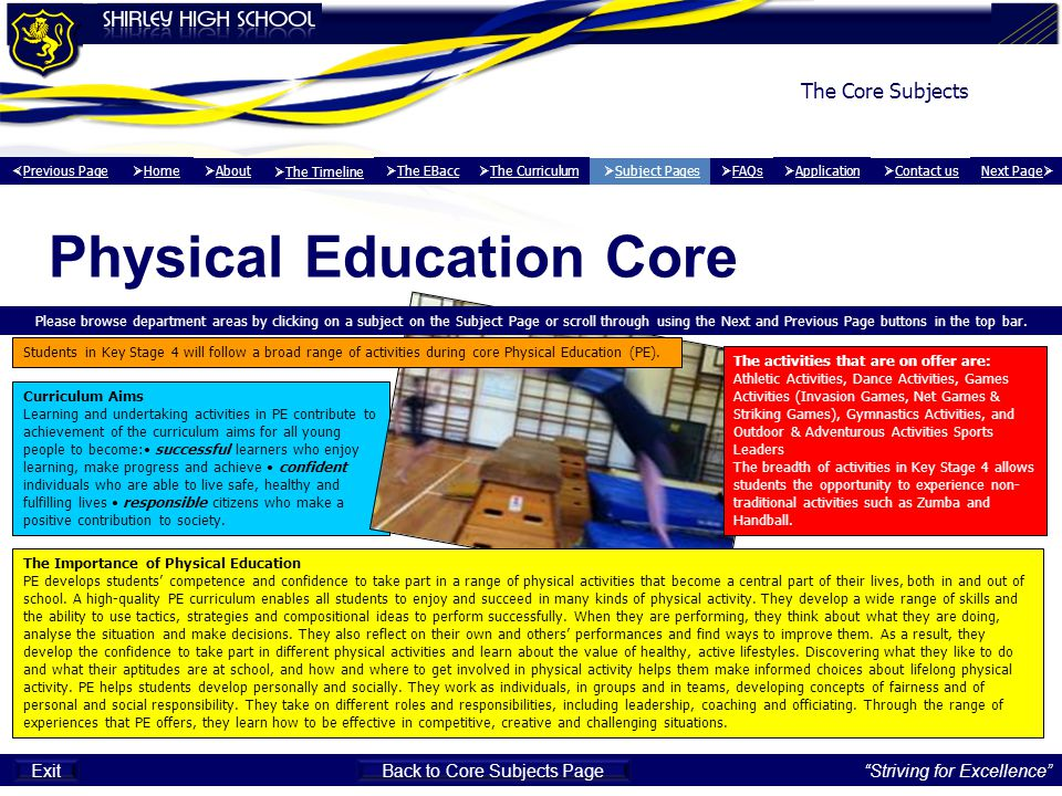 Physical Education Core Curriculum Aims Learning and undertaking activities in PE contribute to achievement of the curriculum aims for all young peopl