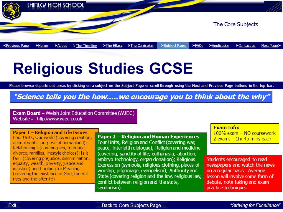 Religious Studies GCSE Please browse department areas by clicking on a subject on the Subject Page or scroll through using the Next and Previous Page