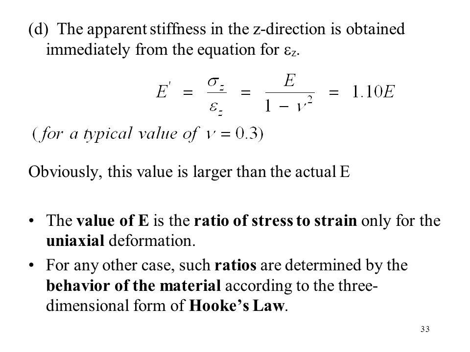 33 (d) The apparent stiffness in the z-direction is obtained immediately from the equation for  z. Obviously, this value is larger than the actual E