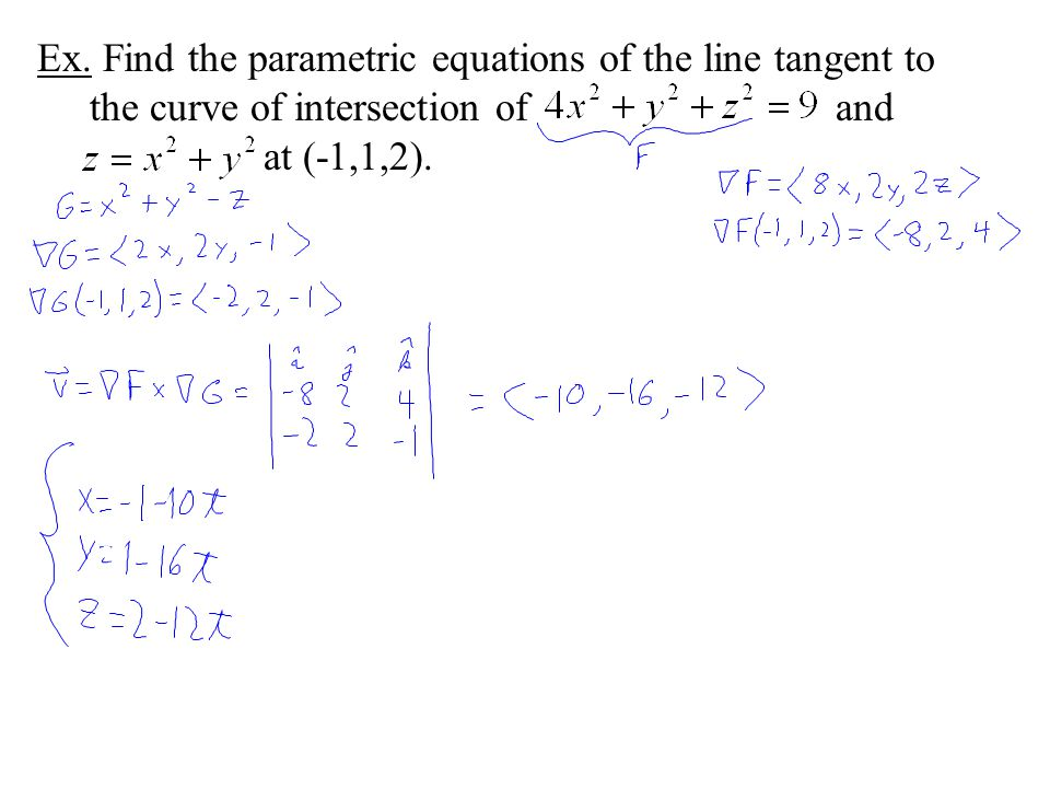Ex. Find the parametric equations of the line tangent to the curve of intersection of and at (-1,1,2).