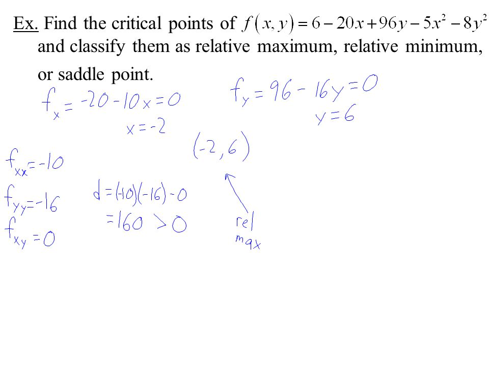 Ex. Find the critical points of and classify them as relative maximum, relative minimum, or saddle point.