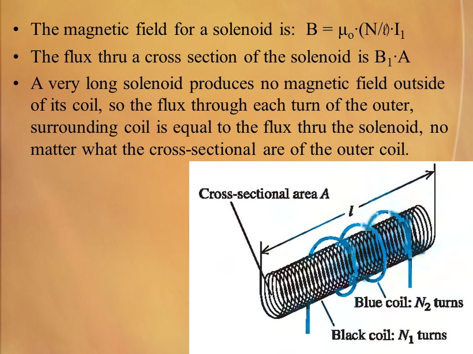 The magnetic field for a solenoid is: B = μ o ·(N/ l) ·I 1 The flux thru a cross section of the solenoid is B 1 ·A A very long solenoid produces no ma