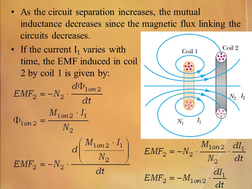 As the circuit separation increases, the mutual inductance decreases since the magnetic flux linking the circuits decreases. If the current I 1 varies