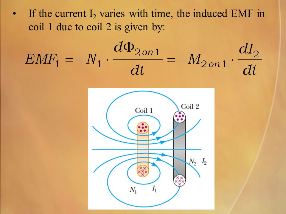If the current I 2 varies with time, the induced EMF in coil 1 due to coil 2 is given by: