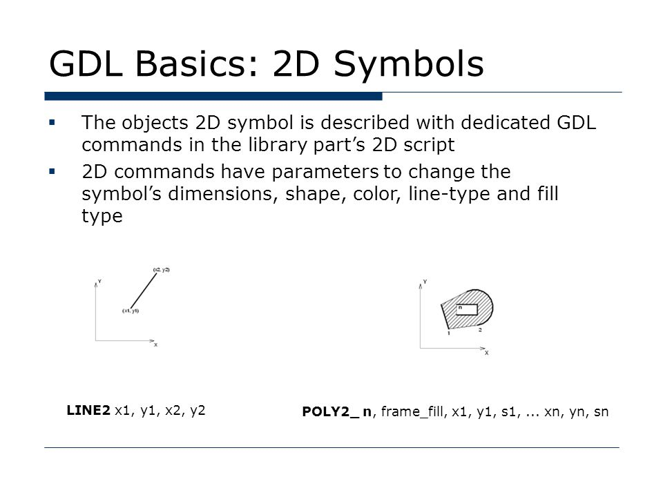 GDL Basics: 2D Symbols  The objects 2D symbol is described with dedicated GDL commands in the library part's 2D script  2D commands have parameters to change the symbol's dimensions, shape, color, line-type and fill type LINE2 x1, y1, x2, y2 POLY2_ n, frame_fill, x1, y1, s1,...