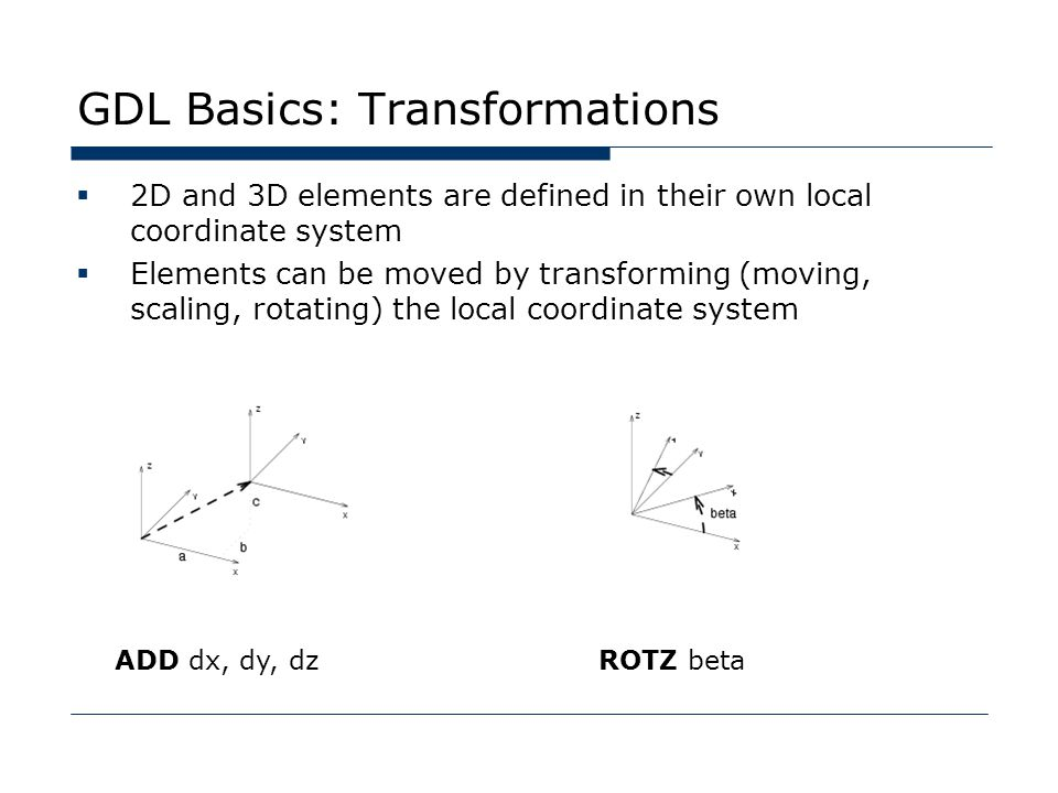 GDL Basics: Transformations  2D and 3D elements are defined in their own local coordinate system  Elements can be moved by transforming (moving, scaling, rotating) the local coordinate system ADD dx, dy, dzROTZ beta
