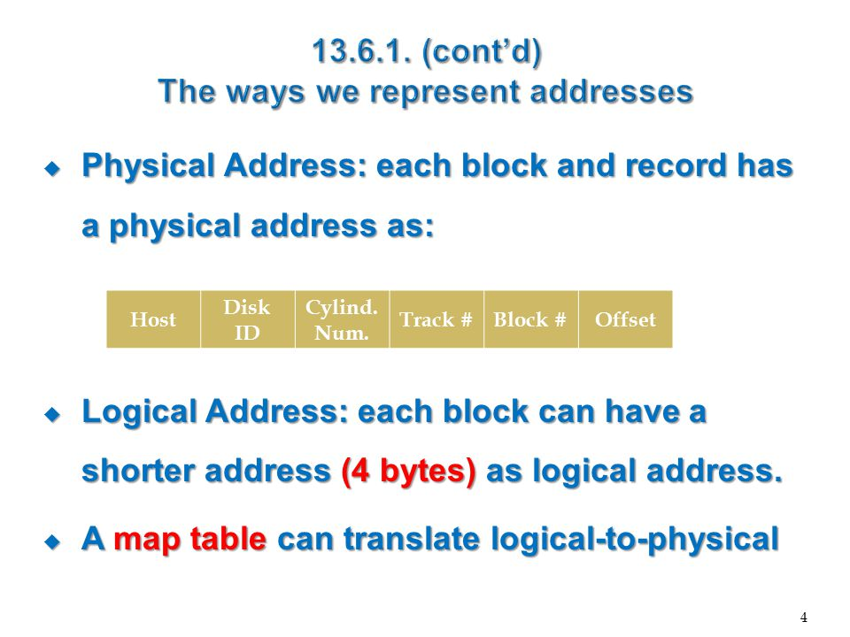  Physical Address: each block and record has a physical address as:  Logical Address: each block can have a shorter address (4 bytes) as logical address.