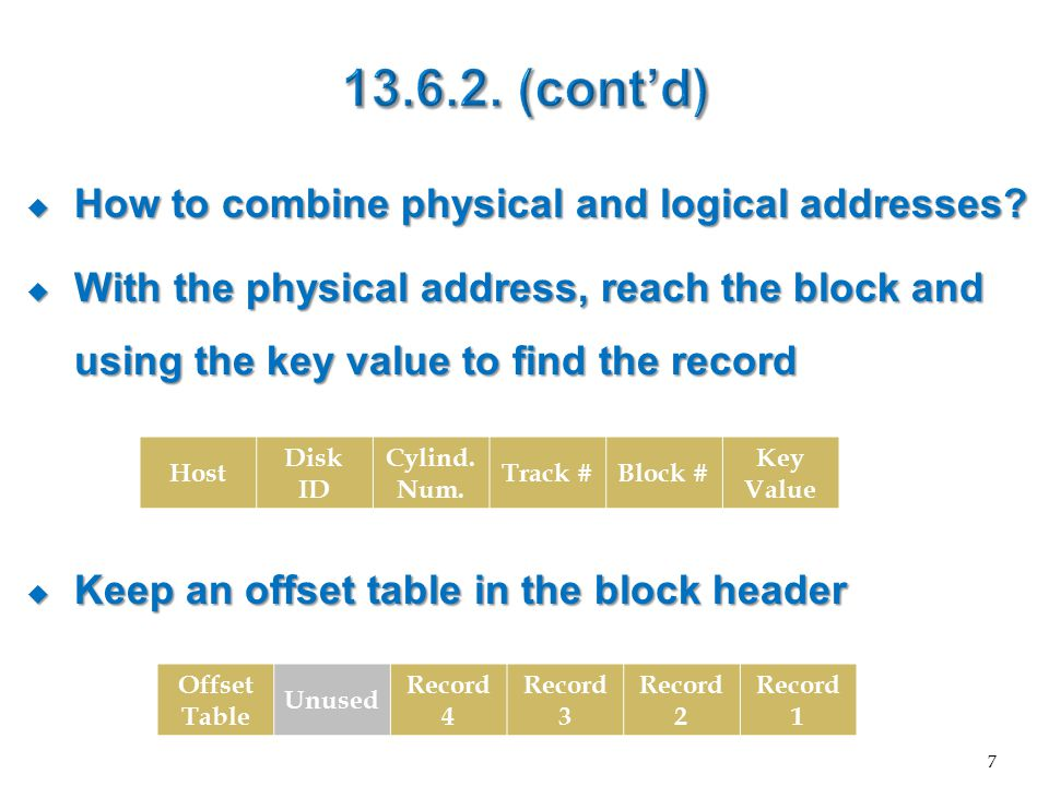  To move a record in a block, just change the offset table entry  To delete a record, just leave a tombstone in the offset table  To move to another block, just put the new block address in the offset table (forwarding address) 8