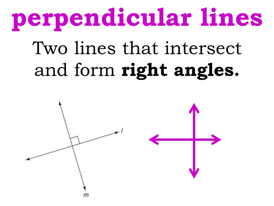 Two lines that intersect and form right angles. perpendicular lines