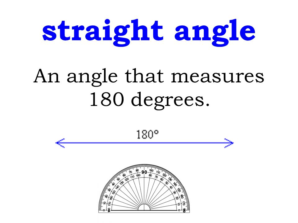 straight angle An angle that measures 180 degrees.