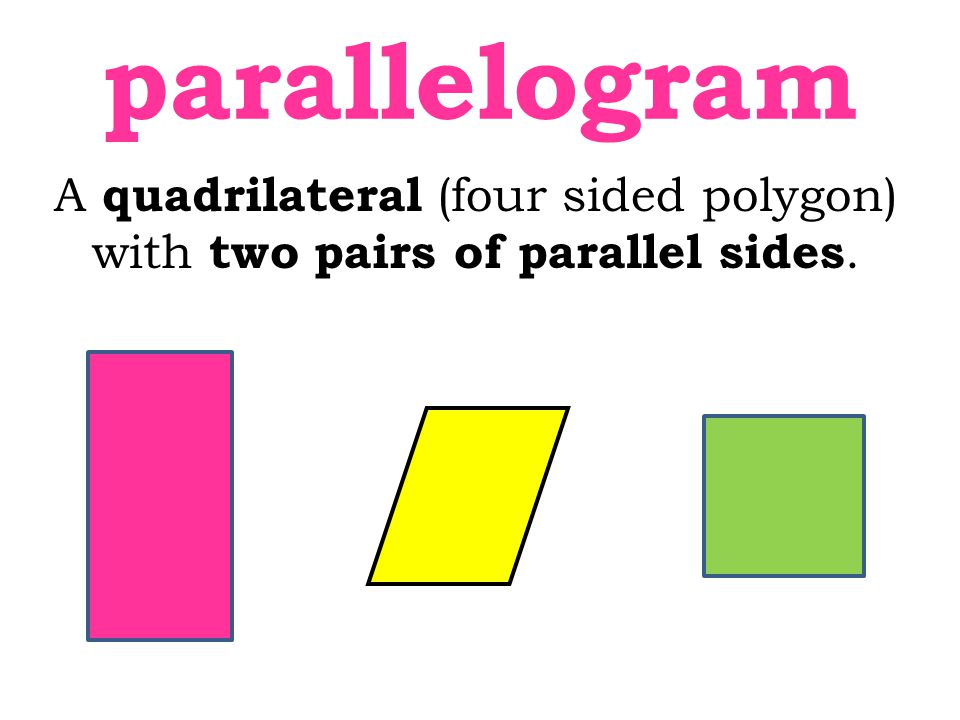 A quadrilateral (four sided polygon) with two pairs of parallel sides. parallelogram