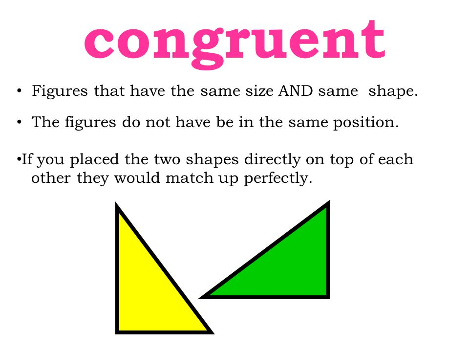 Figures that have the same size AND same shape. The figures do not have be in the same position. If you placed the two shapes directly on top of each