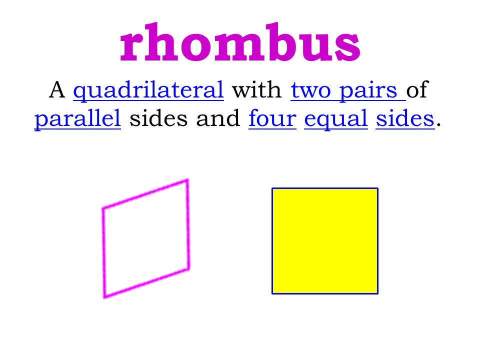 A quadrilateral with two pairs of parallel sides and four equal sides.quadrilateral parallel rhombus