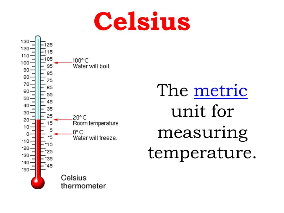 The metric unit formetric measuring temperature. Celsius