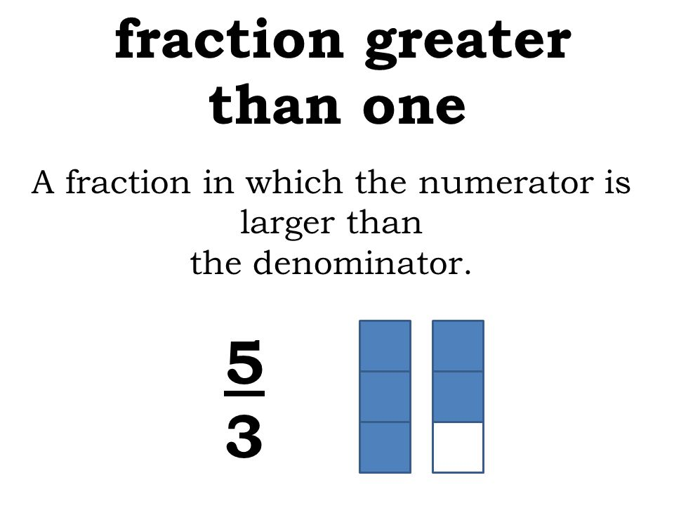 fraction greater than one A fraction in which the numerator is larger than the denominator. 5353