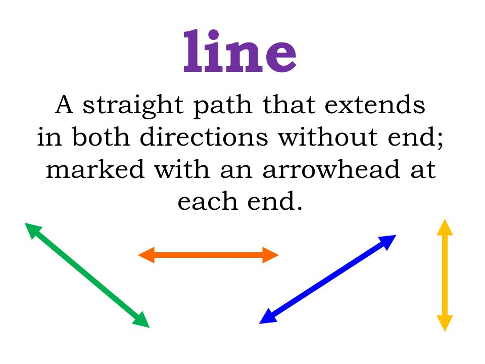 A straight path that extends in both directions without end; marked with an arrowhead at each end. line