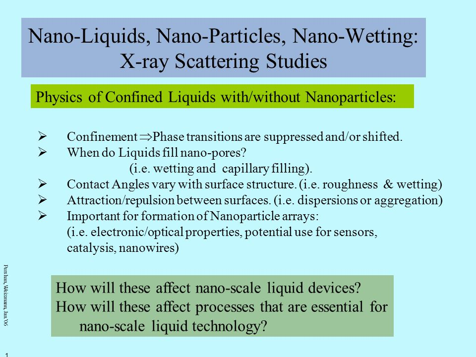 Pershan, Weizmann, Jan.' 06 2 Applications of Nano-Liquids/Nano- Particles A.