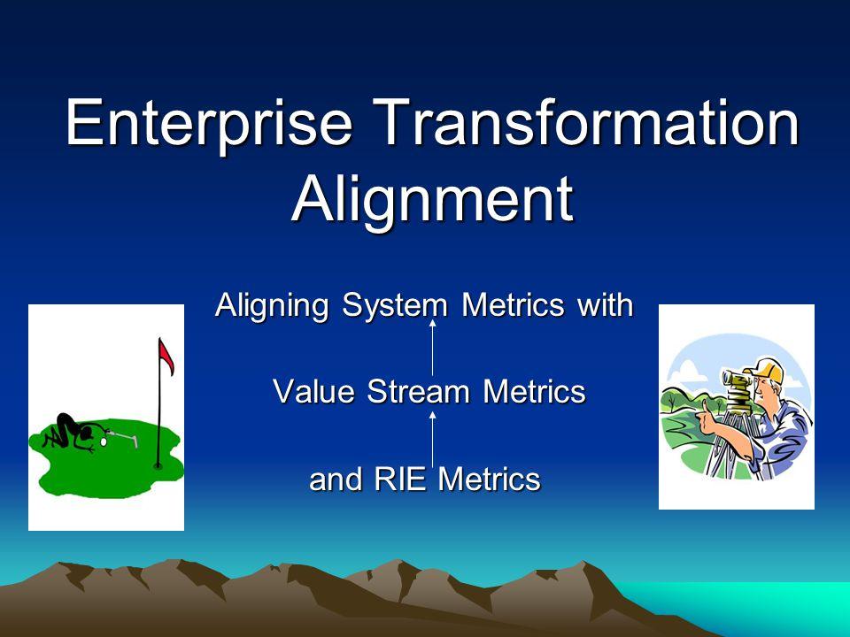 Enterprise Transformation Alignment Aligning System Metrics with Value Stream Metrics Value Stream Metrics and RIE Metrics