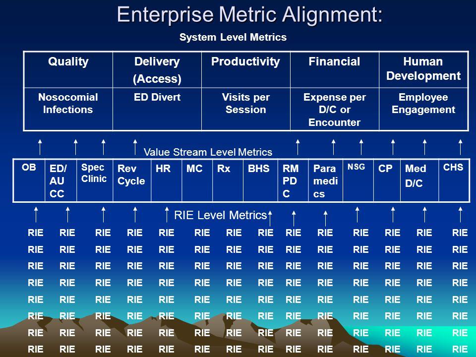 Enterprise Metric Alignment: OB ED/ AU CC Spec Clinic Rev Cycle HRMCRxBHSRM PD C Para medi cs NSG CPMed D/C CHS RIE QualityDelivery (Access) ProductivityFinancialHuman Development Nosocomial Infections ED DivertVisits per Session Expense per D/C or Encounter Employee Engagement System Level Metrics Value Stream Level Metrics RIE Level Metrics