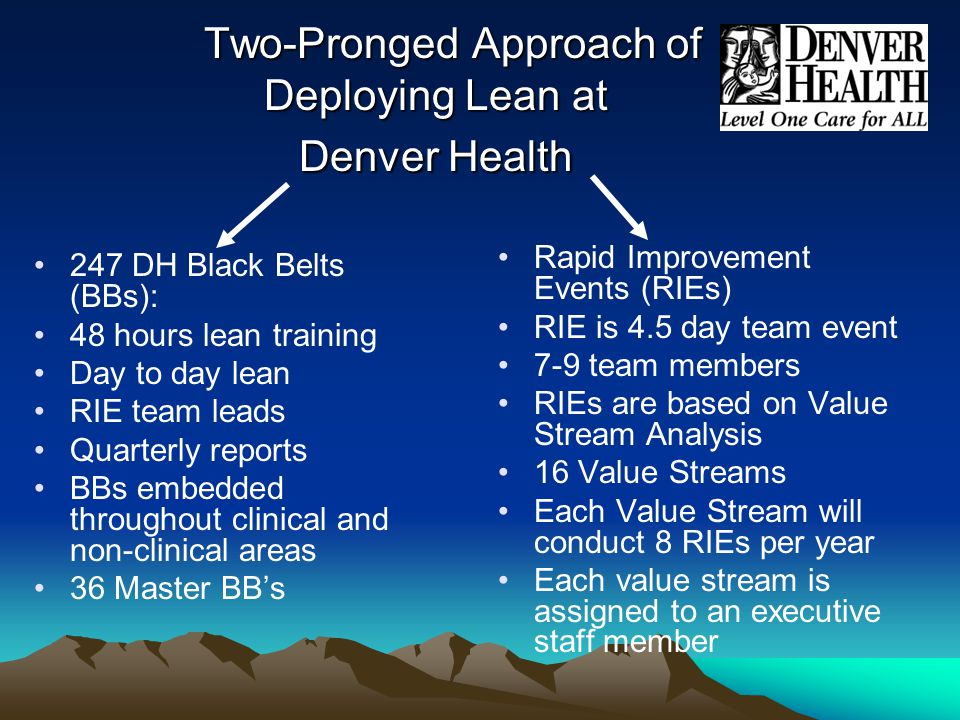 Two-Pronged Approach of Deploying Lean at Denver Health Two-Pronged Approach of Deploying Lean at Denver Health 247 DH Black Belts (BBs): 48 hours lean training Day to day lean RIE team leads Quarterly reports BBs embedded throughout clinical and non-clinical areas 36 Master BB's Rapid Improvement Events (RIEs) RIE is 4.5 day team event 7-9 team members RIEs are based on Value Stream Analysis 16 Value Streams Each Value Stream will conduct 8 RIEs per year Each value stream is assigned to an executive staff member
