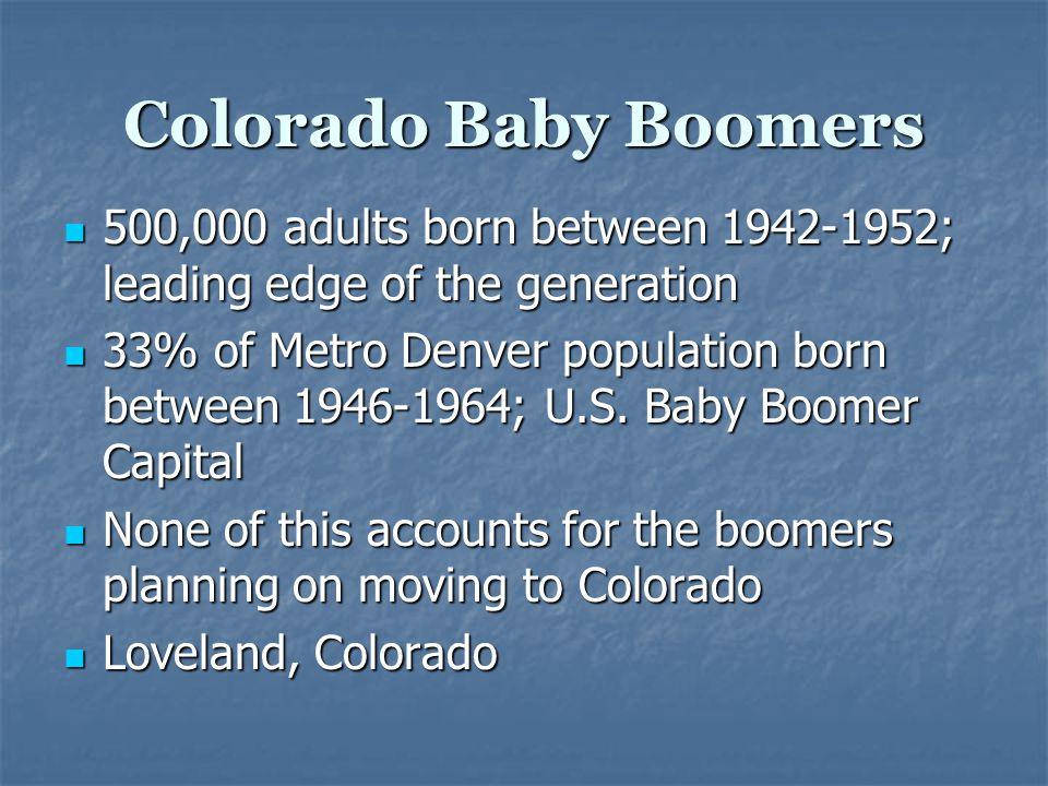 Colorado Baby Boomers 500,000 adults born between 1942-1952; leading edge of the generation 500,000 adults born between 1942-1952; leading edge of the generation 33% of Metro Denver population born between 1946-1964; U.S.
