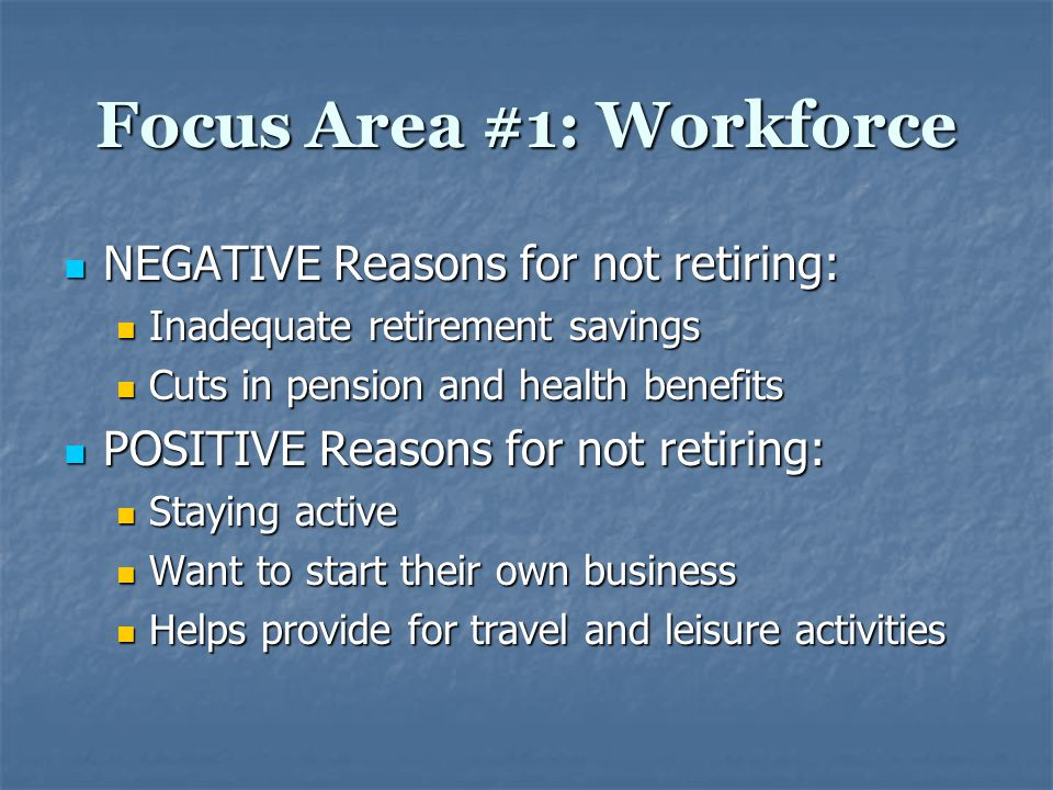 Focus Area #1: Workforce Problems/Issues: Problems/Issues: Age Discrimination in the Workplace Age Discrimination in the Workplace Lack of resources to assist baby boomers as they strive to continue in the workforce Lack of resources to assist baby boomers as they strive to continue in the workforce