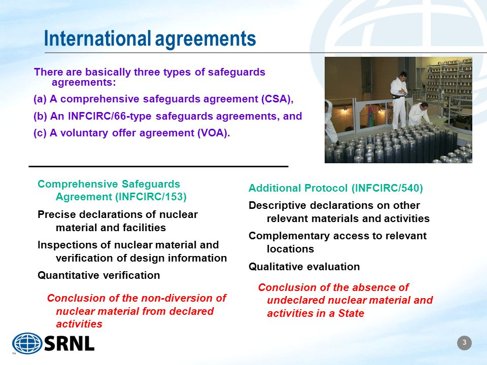 3 International agreements There are basically three types of safeguards agreements: (a) A comprehensive safeguards agreement (CSA), (b) An INFCIRC/66