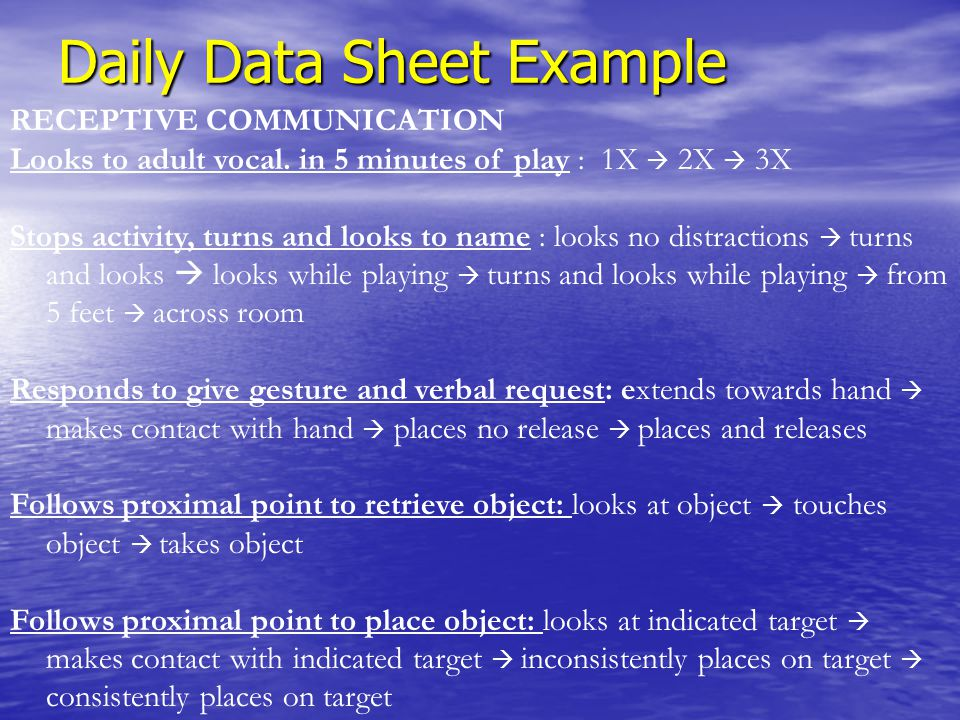 Daily Data Sheet Example RECEPTIVE COMMUNICATION Looks to adult vocal. in 5 minutes of play : 1X  2X  3X Stops activity, turns and looks to name : l