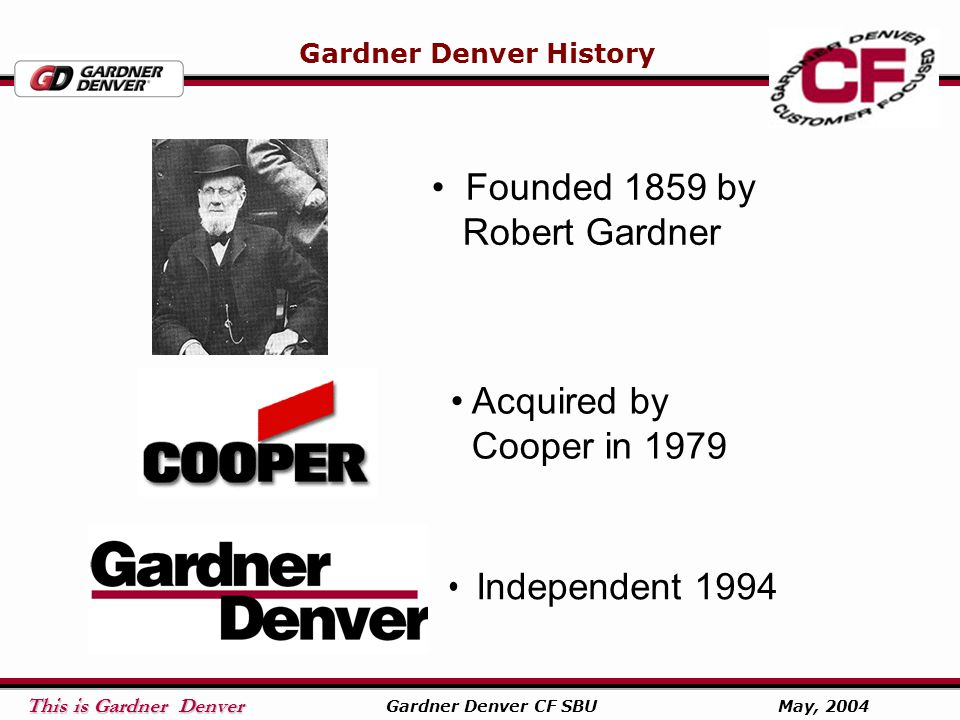 This is Gardner Denver This is Gardner Denver Gardner Denver CF SBU May, 2004 Gardner Denver Blower Division International Sales Managers Latin America, Martin Fonesca Office in Mexico City Pacific Rim & Asia Thomas Zhao Office in Shanghai China