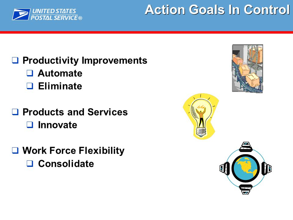 ®  Productivity Improvements  Automate  Eliminate  Products and Services  Innovate  Work Force Flexibility  Consolidate Action Goals In Control