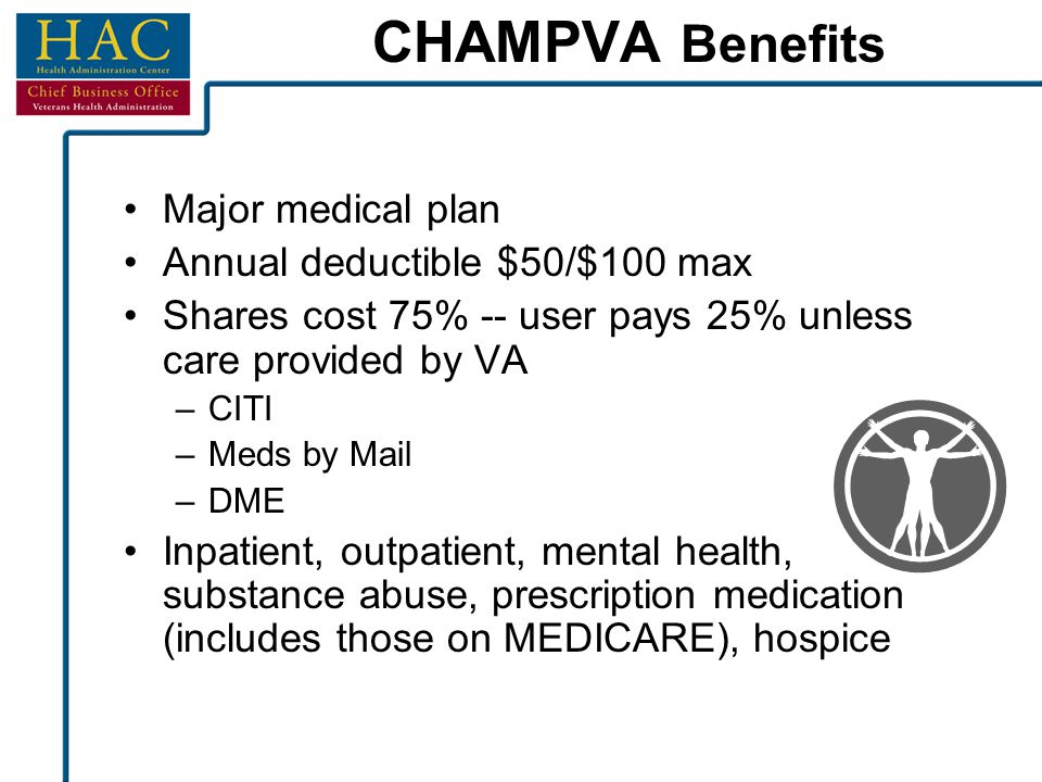 CHAMPVA Benefits Major medical plan Annual deductible $50/$100 max Shares cost 75% -- user pays 25% unless care provided by VA –CITI –Meds by Mail –DM