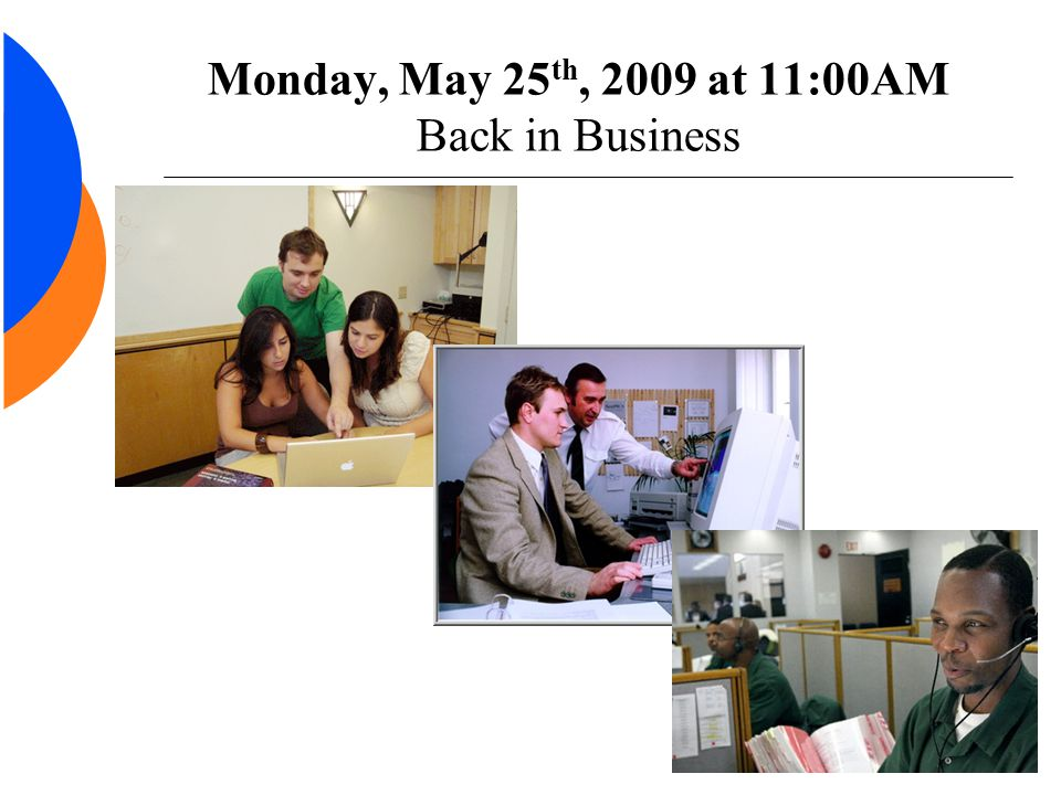 Monday, May 25 th, 2009 at 11:00AM Back in Business