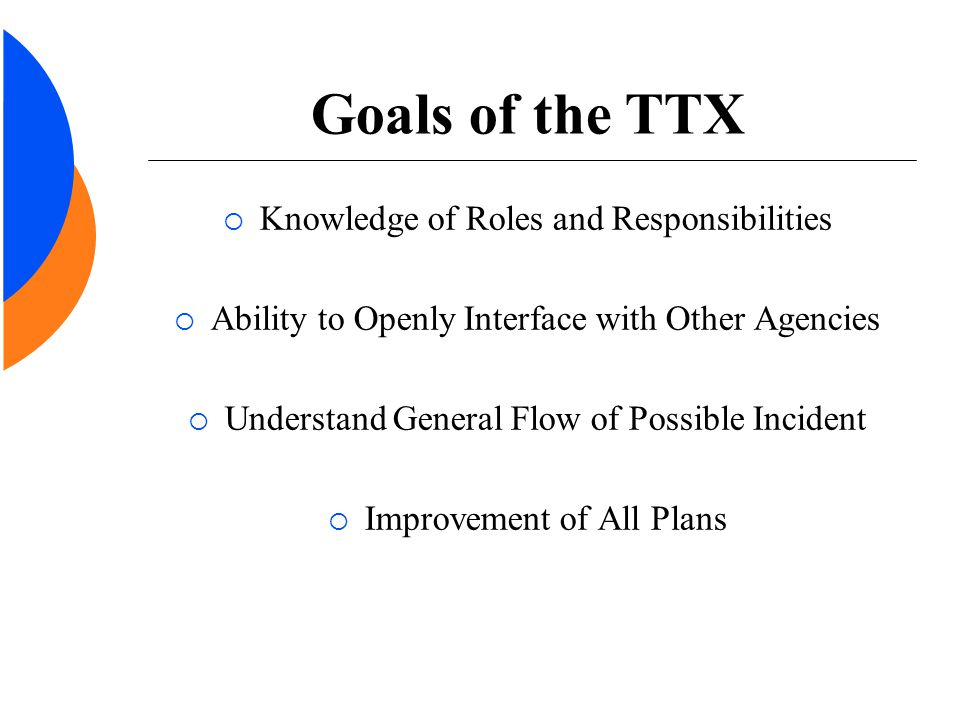 Goals of the TTX  Knowledge of Roles and Responsibilities  Ability to Openly Interface with Other Agencies  Understand General Flow of Possible Inc