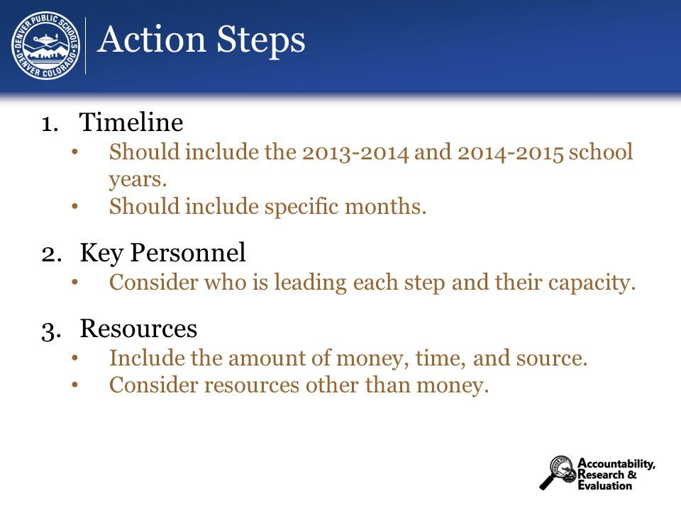 Action Steps 1.Timeline Should include the 2013-2014 and 2014-2015 school years.