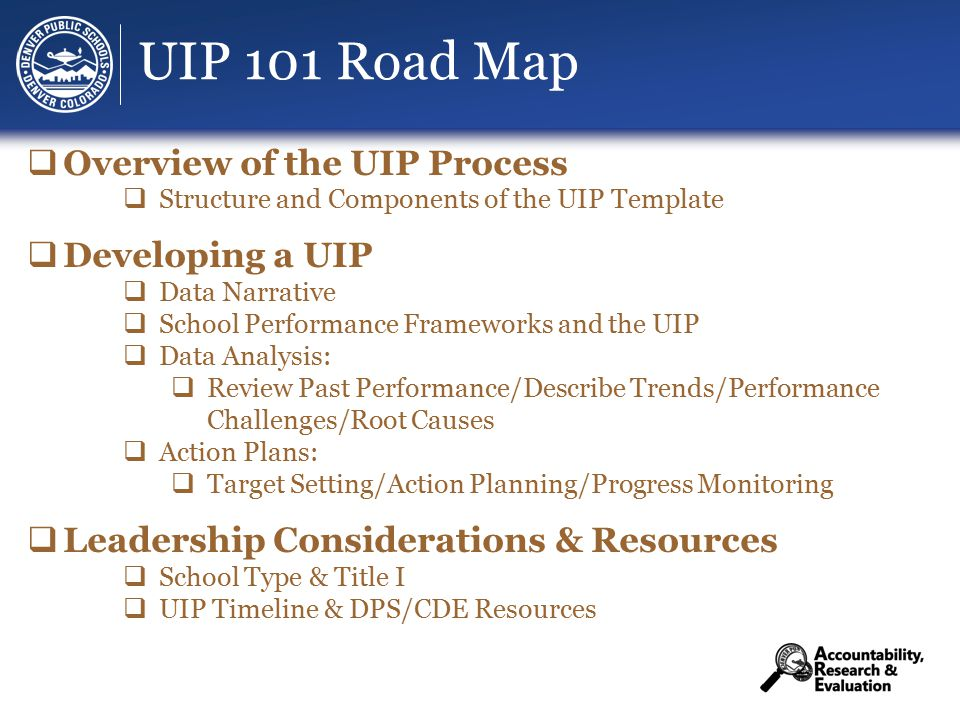 UIP 101 Road Map √ Overview of the UIP Process √ Structure and Components of the UIP Template  Developing a UIP √ Data Narrative √ School Performance Frameworks and the UIP √ Data Analysis: √ Review Past Performance/√ Describe Trends/ √Performance Challenges/ √Root Causes √ Action Plans: √ Target Setting/ √Action Planning/ √Progress Monitoring  Leadership Considerations & Resources  School Type & Title I  UIP Timeline & DPS/CDE Resources