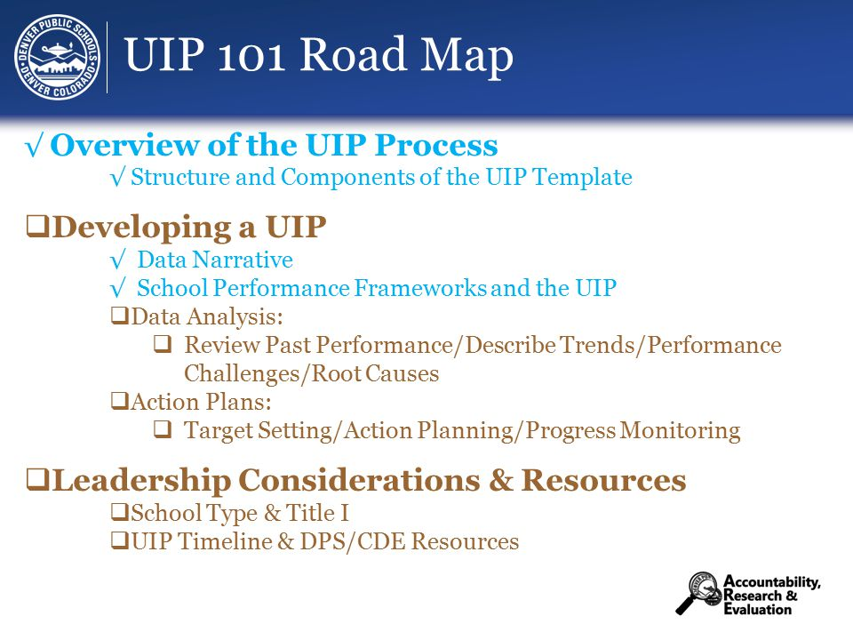UIP 101 Road Map √ Overview of the UIP Process √ Structure and Components of the UIP Template  Developing a UIP √ Data Narrative √ School Performance Frameworks and the UIP  Data Analysis:  Review Past Performance/Describe Trends/Performance Challenges/Root Causes  Action Plans:  Target Setting/Action Planning/Progress Monitoring  Leadership Considerations & Resources  School Type & Title I  UIP Timeline & DPS/CDE Resources