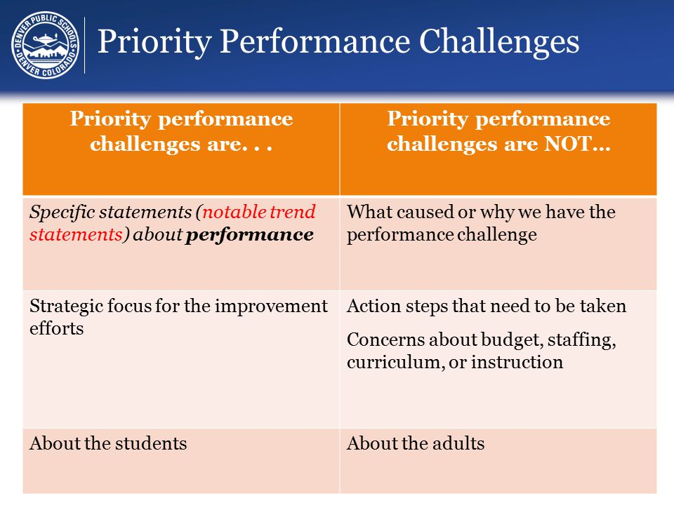 Priority Performance Challenges Priority performance challenges are...