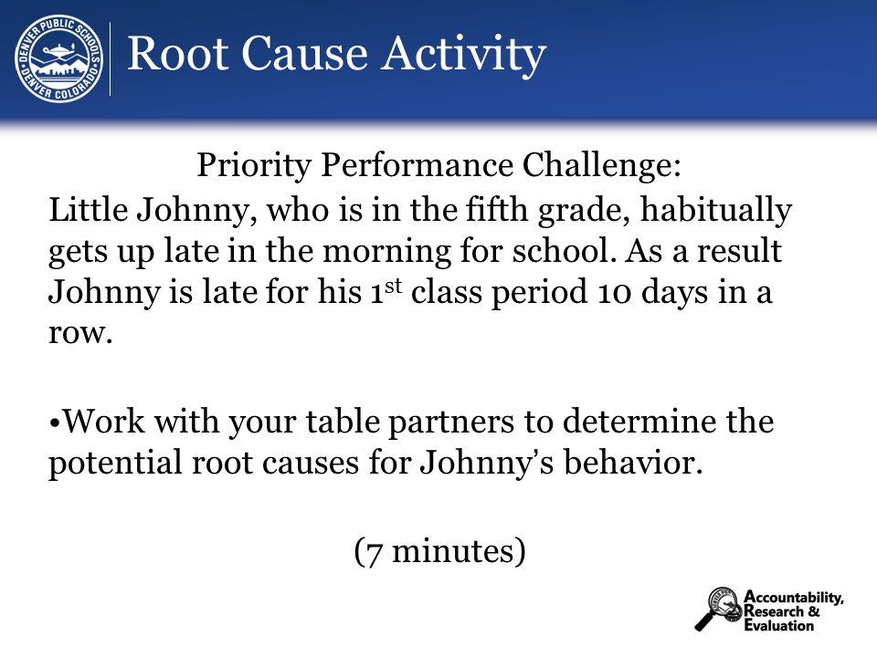 Root Cause Activity Priority Performance Challenge: Little Johnny, who is in the fifth grade, habitually gets up late in the morning for school.