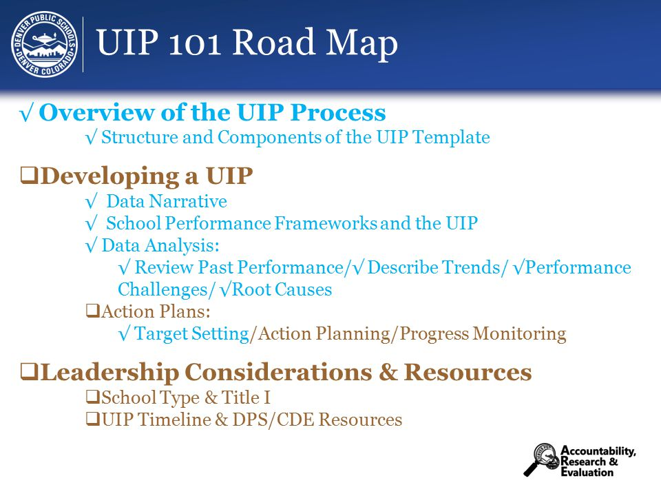 UIP 101 Road Map √ Overview of the UIP Process √ Structure and Components of the UIP Template  Developing a UIP √ Data Narrative √ School Performance Frameworks and the UIP √ Data Analysis: √ Review Past Performance/√ Describe Trends/ √Performance Challenges/ √Root Causes  Action Plans: √ Target Setting/Action Planning/Progress Monitoring  Leadership Considerations & Resources  School Type & Title I  UIP Timeline & DPS/CDE Resources