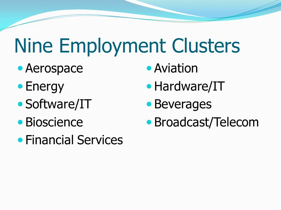 Nine Employment Clusters Aerospace Energy Software/IT Bioscience Financial Services Aviation Hardware/IT Beverages Broadcast/Telecom