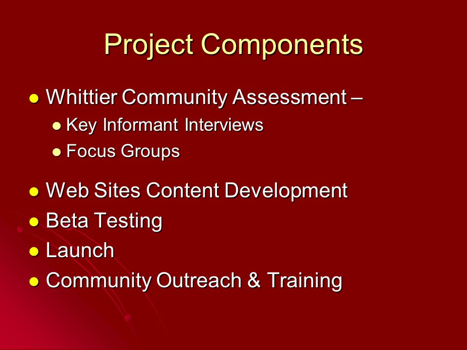 Project Components Whittier Community Assessment – Whittier Community Assessment – Key Informant Interviews Key Informant Interviews Focus Groups Focus Groups Web Sites Content Development Web Sites Content Development Beta Testing Beta Testing Launch Launch Community Outreach & Training Community Outreach & Training