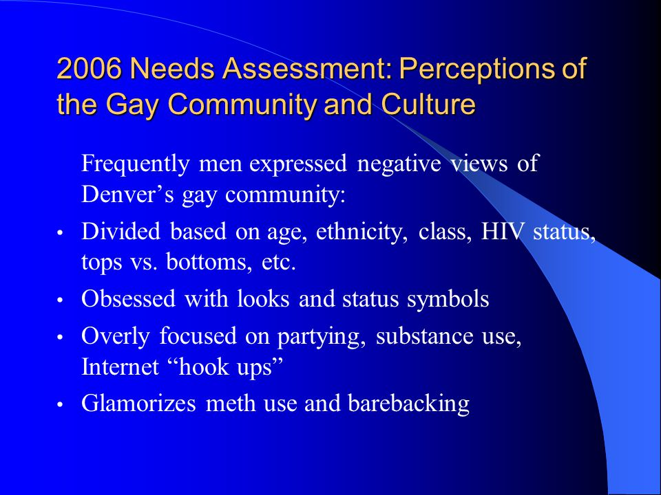 2006 Needs Assessment: Perceptions of the Gay Community and Culture Frequently men expressed negative views of Denver's gay community: Divided based on age, ethnicity, class, HIV status, tops vs.