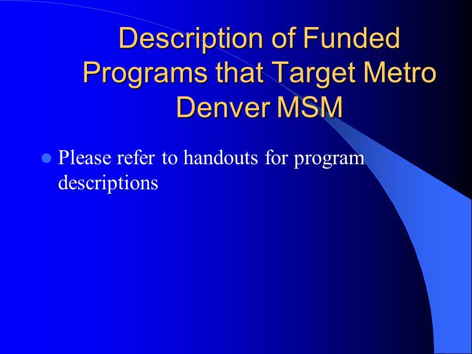 Description of Funded Programs that Target Metro Denver MSM Please refer to handouts for program descriptions