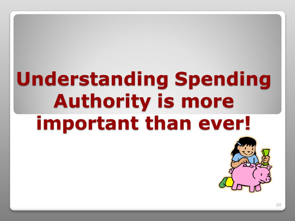 20 Understanding Spending Authority is more important than ever!