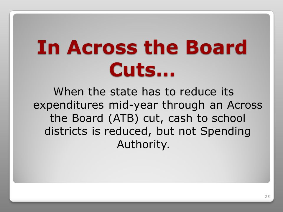 25 In Across the Board Cuts… When the state has to reduce its expenditures mid-year through an Across the Board (ATB) cut, cash to school districts is reduced, but not Spending Authority.